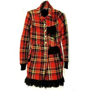 BETSEY JOHNSON Plaid Sweater Coat Red RARE